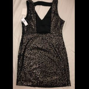 1. State Dresses - Black and gold sequin mini dress
